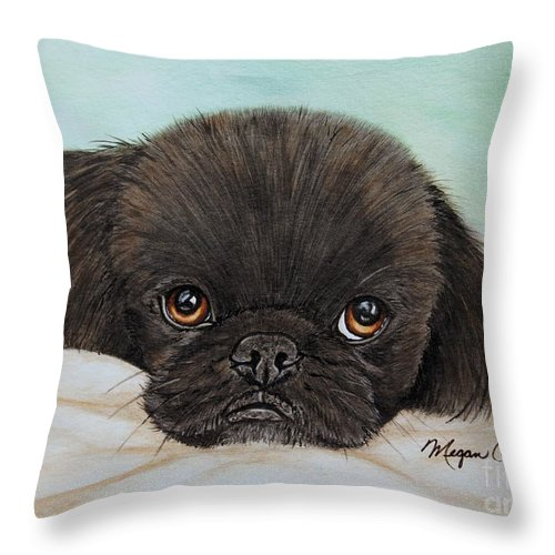 Pekingese Throw Pillow featuring the painting Buddy The Pekingese by Megan Cohen