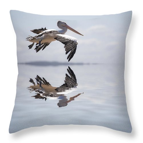Australian White Pelican Throw Pillow featuring the photograph Pelican in flight by Sheila Smart Fine Art Photography