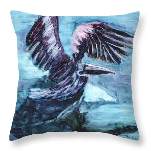 Pelican Throw Pillow featuring the painting Pelican Landing by Mickey Krause