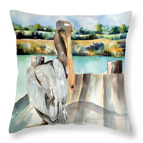 Pelican Painting Throw Pillow featuring the painting Pelican With An Attitude by Kandyce Waltensperger
