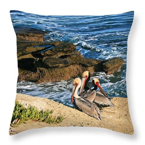 Gabriele Pomykaj Throw Pillow featuring the photograph Pelicans On The Cliff - La Jolla Cove by Gabriele Pomykaj
