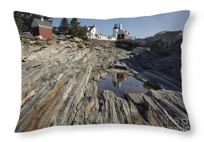 1800's Throw Pillow featuring the photograph Pemaquid Point Light - Bristol Maine by Erin Paul Donovan