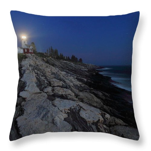 Moon Throw Pillow featuring the photograph Pemaquid Point Lighthouse Moonlight by John Burk