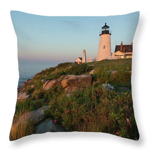 Tranquility Throw Pillow featuring the photograph Pemaquid Point Maine Lighthouse by Dave Mention Photography
