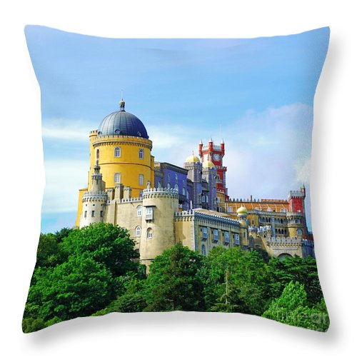 Castle Throw Pillow featuring the photograph Pena Palace In Sintra by Luis Alvarenga