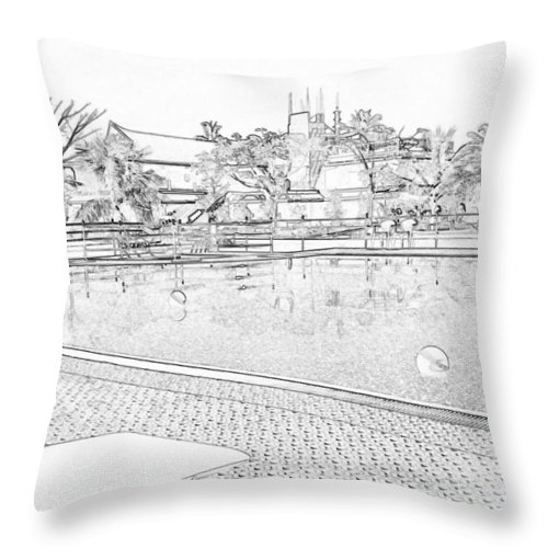 Alleppey Throw Pillow featuring the digital art Pencil - Swimming Pool And A Leisure Chair by Ashish Agarwal