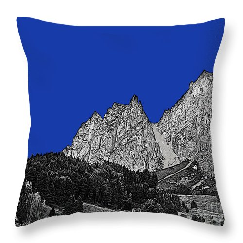 Travel Throw Pillow featuring the photograph Pencil Sketch Of Dolomites by Elvis Vaughn