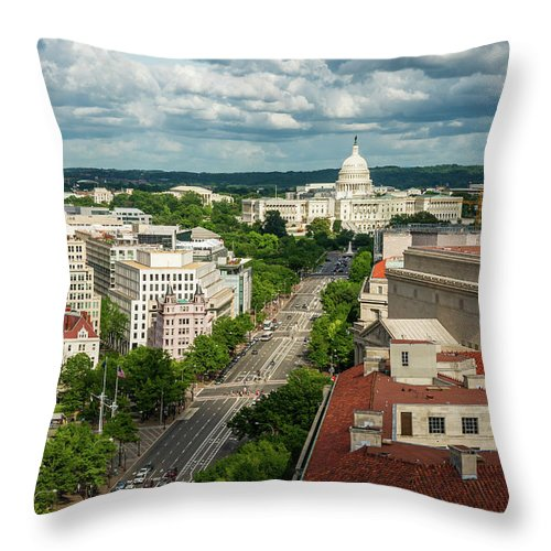 Built Structure Throw Pillow featuring the photograph Pennsylvania Avenue Leading Up To The by Miralex