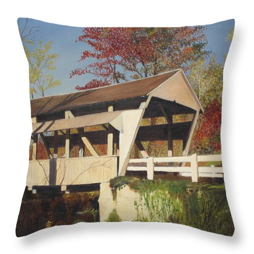 covered Bridge Throw Pillow featuring the painting Pennsylvania Covered Bridge by Barbara McDevitt