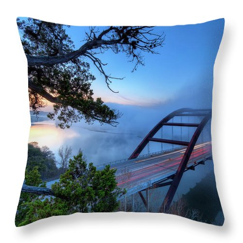 Tranquility Throw Pillow featuring the photograph Pennybacker Bridge In Morning Fog by Evan Gearing Photography