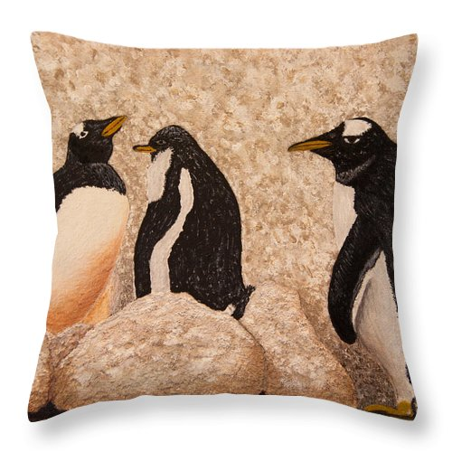 Penquin Throw Pillow featuring the painting Penquin Family by Susan Cliett