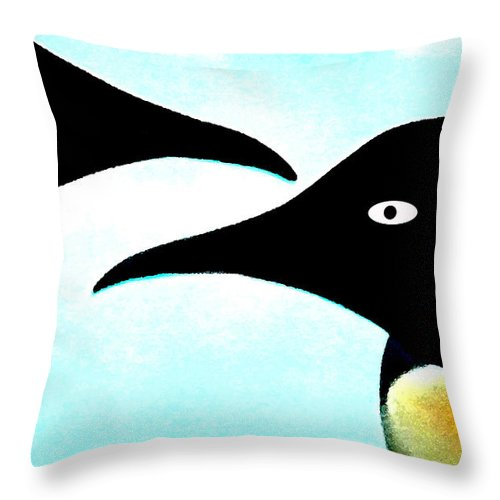 Colette Throw Pillow featuring the painting Penquin Love by Colette V Hera Guggenheim