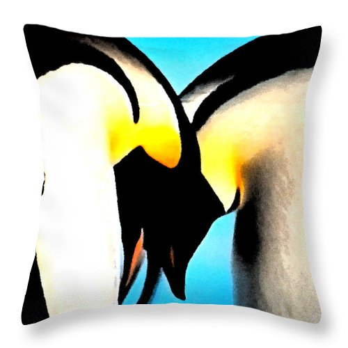 Colette Throw Pillow featuring the painting Penquin Love Dance by Colette V Hera Guggenheim