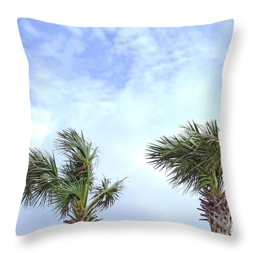Palm Tree Throw Pillow featuring the photograph Pensacola Palms by Lizi Beard-Ward