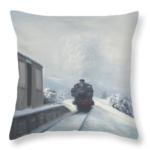 Railway Throw Pillow featuring the painting Penscynor Halt by Richard Picton