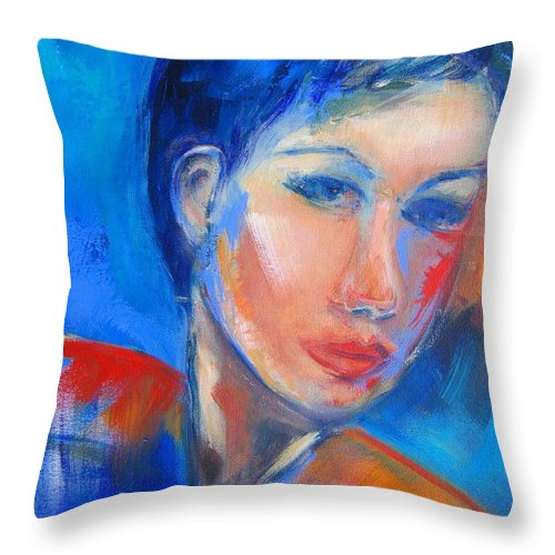 Face Throw Pillow featuring the painting Pensive by Elise Palmigiani