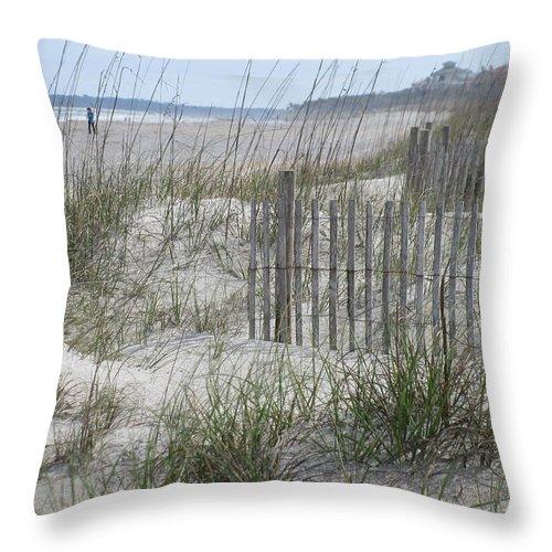 Landscape Throw Pillow featuring the photograph Pensive Walker by Ellen Meakin