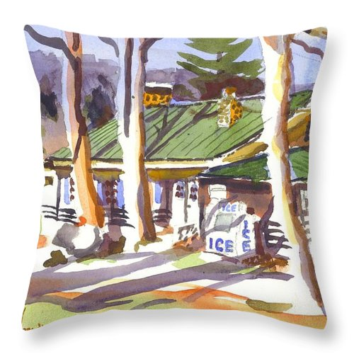 Kipdevore Throw Pillow featuring the painting Penuel Lodge In Winter by Kip DeVore