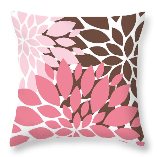 Flowers Throw Pillow featuring the digital art Peony Flowers 009 by Voros Edit