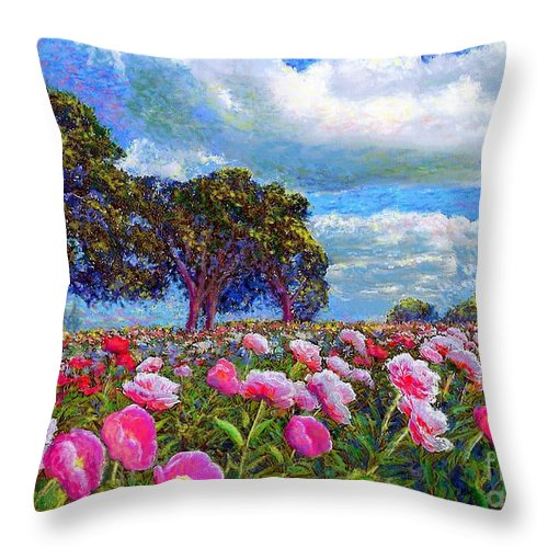 Sun Throw Pillow featuring the painting Peony Heaven by Jane Small