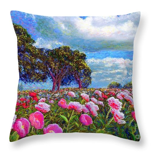 Floral Throw Pillow featuring the painting Peony Heaven by Jane Small