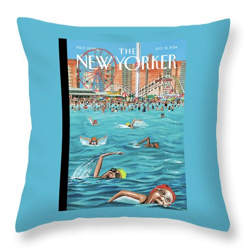 Beach Throw Pillow featuring the painting Coney Island by Mark Ulriksen