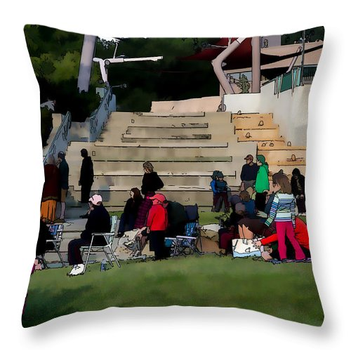 People Throw Pillow featuring the photograph People In The Park by Donna Lee