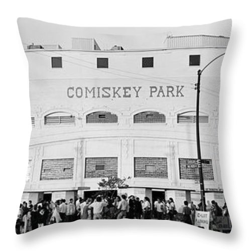 Photography Throw Pillow featuring the photograph People Outside A Baseball Park, Old by Panoramic Images