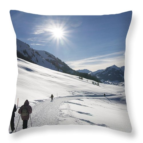 People Walking In Beautiful Sunny Winter Landscape In The Alps With Lots Of Snow Throw Pillow For Sale By Matthias Hauser