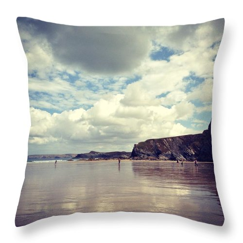 Mud Throw Pillow featuring the photograph People Walking On Wet Sand On Cloudy by Jodie Griggs