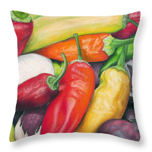 Pepper Throw Pillow featuring the painting Peppers And Onions by Adam Johnson