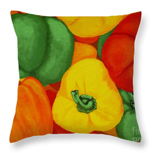 Peppers Throw Pillow featuring the painting Peppers by Anthony Dunphy