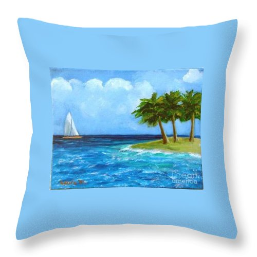 Boats Throw Pillow featuring the painting Perfect Sailing Day by Laurie Morgan