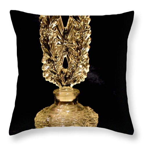 Perfume Bottle Throw Pillow featuring the photograph Perfume Bottle by Mechala Matthews