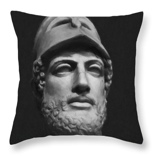 Greek Sculpture Throw Pillow featuring the photograph Pericles by F Icarus