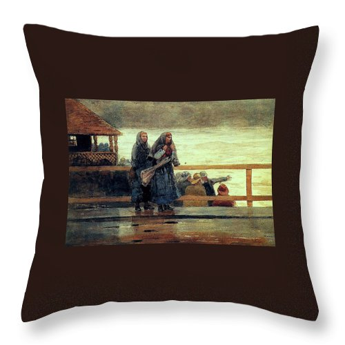Winslow Throw Pillow featuring the painting Perils Of The Sea 1881 by Philip Ralley