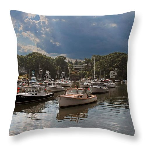 Boats Throw Pillow featuring the photograph Perkins Cove Me by Michael Saunders
