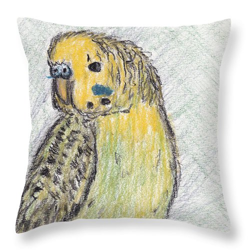 Perry Throw Pillow featuring the pastel Perry by Andrew Worley