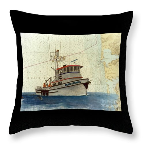 Perseverance Throw Pillow featuring the painting Perseverance Crab Fishing Boat Nautical Chart Art by Cathy Peek