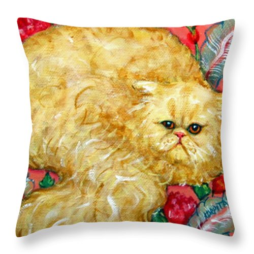 Persian Cat Throw Pillow featuring the painting Persian Cat On A Cushion by Rebecca Korpita