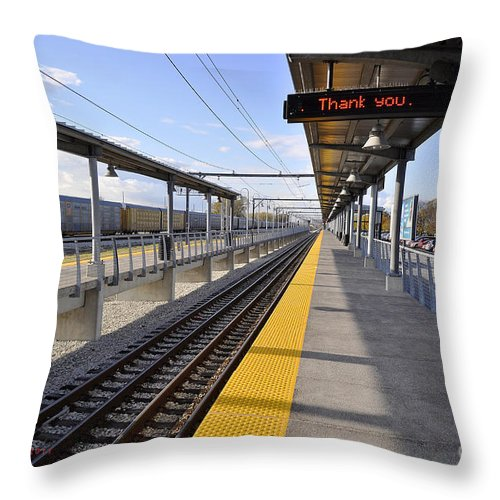 Railroad Throw Pillow featuring the photograph Perspective From The Series The Elements And Principles Of Art-- One Point Rail by Verana Stark