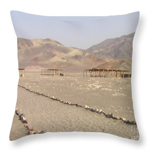 South America Throw Pillow featuring the photograph Peru Nazca Bones Site by Coventry Wildeheart