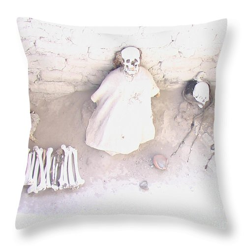 South America Throw Pillow featuring the photograph Peru Nazca Bones Two by Coventry Wildeheart