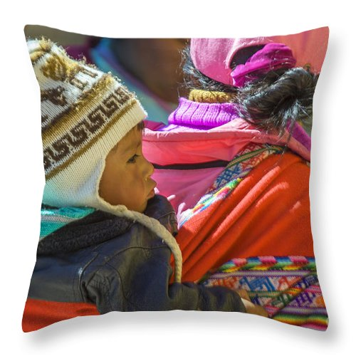 Chivay Throw Pillow featuring the photograph Peruvian Woman With Baby by Patricia Hofmeester