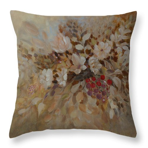 Petals Throw Pillow featuring the painting Petals And Berries by Joanne Smoley