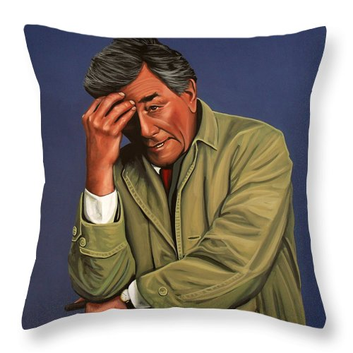 Peter Falk Throw Pillow featuring the painting Peter Falk As Columbo by Paul Meijering