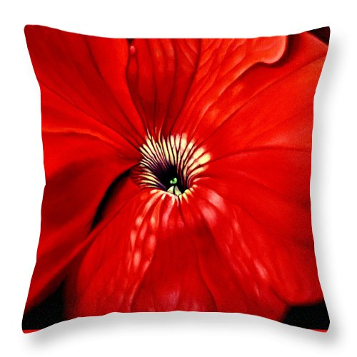 Peturnia Throw Pillow featuring the painting Petunia by Anni Adkins