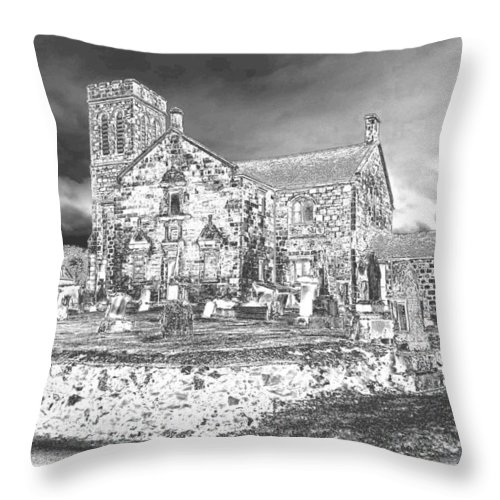 Dunlop Kirk Throw Pillow featuring the photograph Pewter Skies Over The Kirk by James Potts
