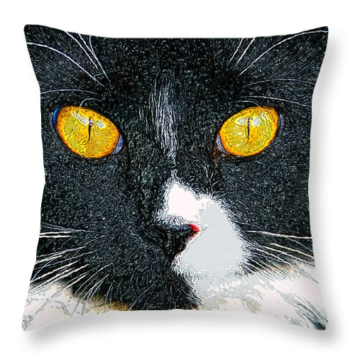 Cat Throw Pillow featuring the painting Phantom by David Lee Thompson