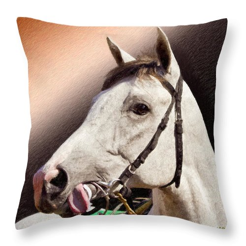 Phantom Lover Throw Pillow featuring the painting Phantom Lover Race Horse Looking On by Angela Stanton